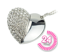 Crystal Heart USB Memory Stick