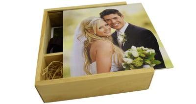 Wooden Slide USB & Photo Prints Gift Box