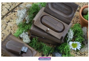 Dark Wooden Flip Gift Box USB Makers
