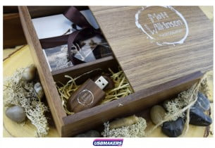 Dark Wooden Photo Print USB Gift Box 1