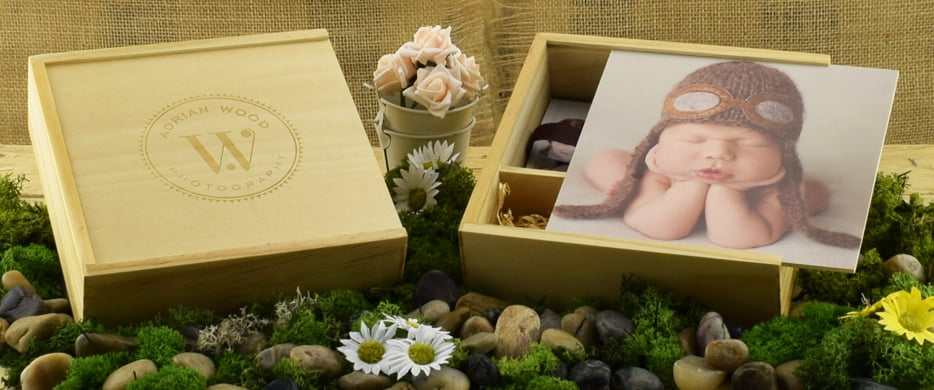 Wooden Slide USB & Photo Prints Gift Box