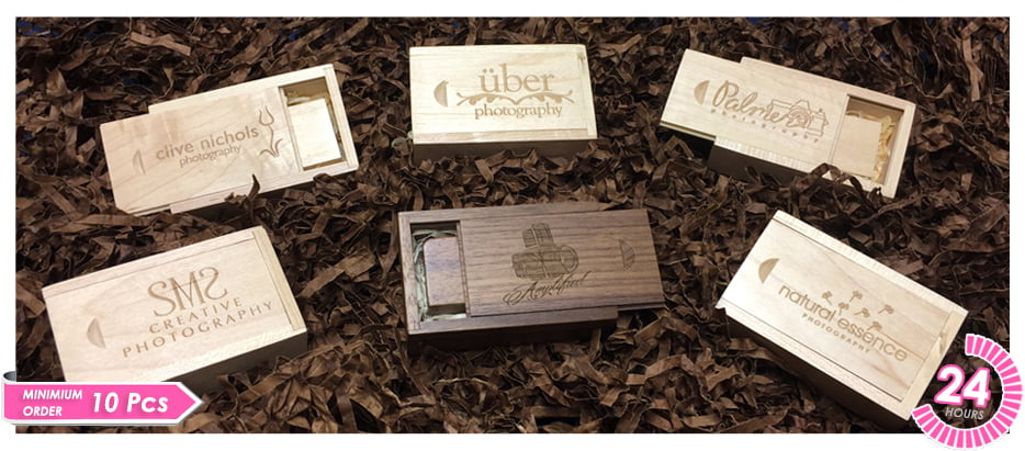 Sliding Wooden USB Presentation Box