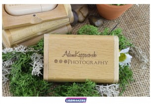 Light Wooden Flip Gift Box USB Makers