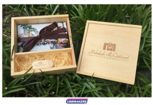 Light Wooden Photo Print USB Gift Box 0