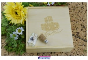 Light Wooden Photo Print USB Gift Box 1