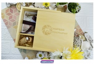 Light Wooden Photo Print USB Gift Box 2