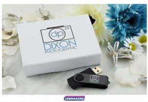 White Magnetic Flip USB Gift Box 3