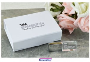 White Magnetic Flip USB Gift Box 4