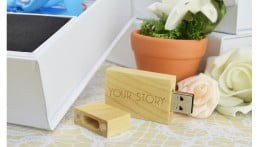 Wooden Block USB Drive - Light Wood 1